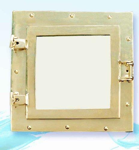 Square Porthole Mirror - HS Square Brass Nautical Porthole Mirror