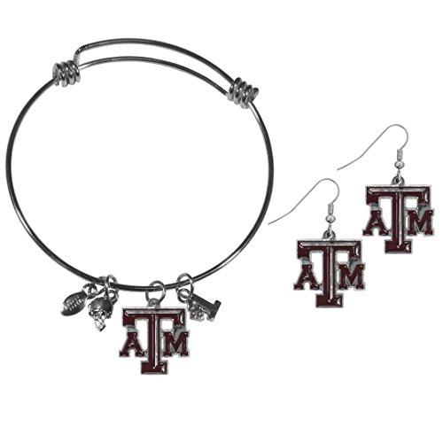 Texas Am Aggies Bracelets - Siskiyou NCAA Texas A&M Aggies Dangle Earrings & Charm Bangle Bracelet Set
