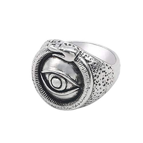 (yihan jewelry Unisex 925 Sterling Silver Plated Retro Fatima's Evil Eye Ring Club Punk Rings (10))