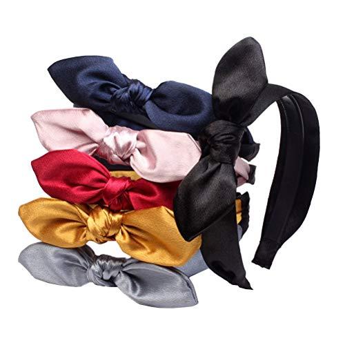 Lurrose 6 unids Elastic Rabbit Bow Headbands Turban Headwraps Banda para el Cabello Arcos Turban Headwraps para Mujeres y...