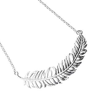 Rayado plateado plata collar de plumas