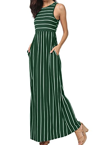 - levaca Womens Scoop Neck Striped Pleated Beach Tank Dress with Pockets Green S