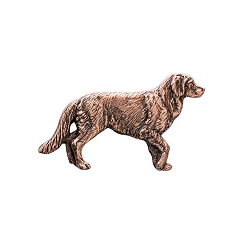 Creative Pewter Designs, Pewter Full Body Golden Retriever Handcrafted Dog Lapel Pin Brooch, Copper Plated, DC390F - Golden Pin Brooch
