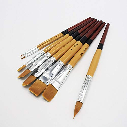 All Artzy - Artist Paint Brush Set - 8 Brushes for Acrylic, Gouache, Watercolor, Crafts - Short Handled Paintbrushes for Children & Adults - Includes 1 Flat Brush for Washes & Larger Projects