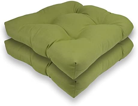 Reversible Outdoor/Indoor Sunbrella Seat Cushion Set of 2 Kiwi