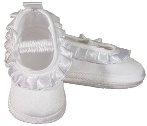 Baby Girls Satin Shoe with Pleated Ribbon - Size ()