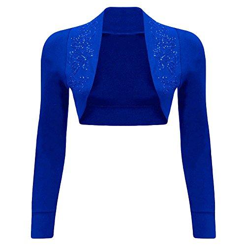 Con Paillette Maniche Coprispalle Lunghe Blue Royal Da Donna A q5C5XFPwf
