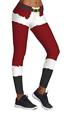 DawnRaid Women's Funny Stripe Printed Pattern Christmas Leggings Ankle Length