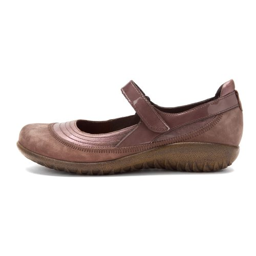 Naot Chaussures Femme Kirei Mary Jane Plat Porcini Cuir / Shiitake Nubuck