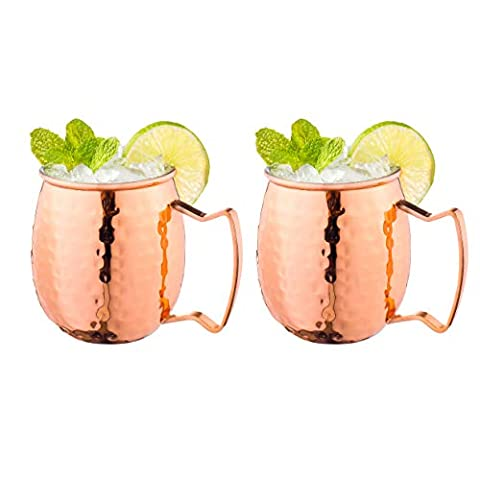 Royalty Art (4-Pack) Moscow Mule Copper Mugs with shot glass, Handles Classic Drinking Cup Set Home, Kitchen, Bar…