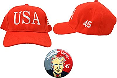 Trump USA 45th President Hat & Button Combo