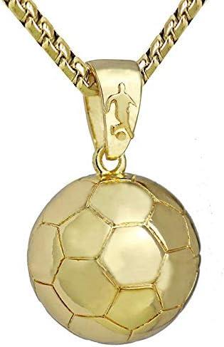 Sport Halskette Fußball Anhänger mit Kette Fußball Halskette Gold Silber Farbe