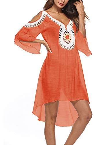 PUWEI Women's Boho V Neck Cold Shoulder Crochet Long Tunic Tops Beach Coverup (Orange, One Size)