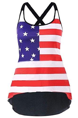 ラグ唯一テニスNicellyer アメリカの国旗のプラスサイズの7月4日の背部のキャミブラウスの女性