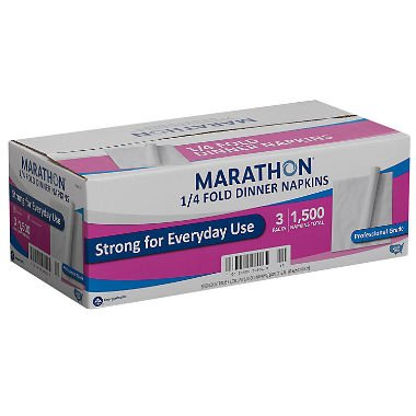 Marathon - Embossed Dinner Napkins, 1/4 Fold - 1,500 - Dinner Napkin Fold 1/4