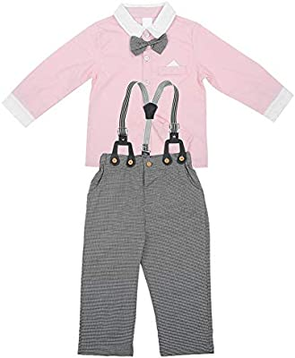 Traje de bebé, recién nacido camisa de manga larga corbata de lazo ...