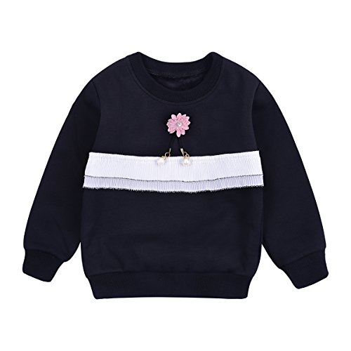 Price comparison product image Crewneck Sweatshirt Toddler Baby Girl Solid Fleece Pullover Shirt Kids Clothes for 1-5Years (Size18M(for 30-33in), Black)