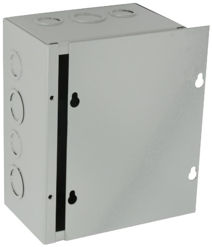Nema 4 X Junction Boxes (BUD Industries JB-3956-KO Steel NEMA 1 Sheet Metal Junction Box with Knockout and Lift-off Screw Cover, 6