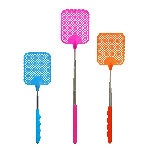 W.ent Fly Swatter Plastic Stainless Steel Extendable Strong Flexible Durable Telescopic Pocket Manual Swat Pest Control Travel Partner Assorted Colors 3 Pack