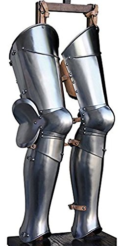 THORINSTRUMENTS (with device) Steel Greaves Medieval LARP Armor Leg Guard