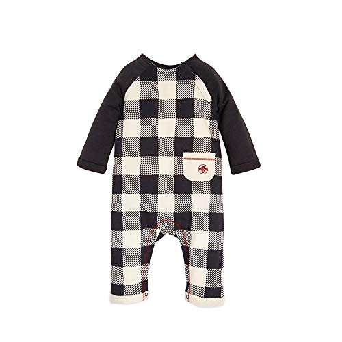 Burt's Bees Baby Baby Boys' Organic One-Piece Romper Coverall, Zinc French Terry Buffalo Check, 18 - Organic Cotton Terry Play