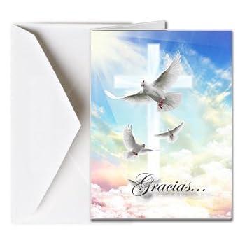 Tarjetas Funerales de Agradecimiento, Tarjetas de Gratitud, Tarjetas de Gracias (25 Cantidad) FTKC1164ES Vuelo de palomas (En Blanco - Impreso por usted)