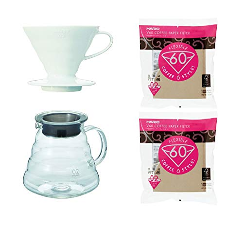 (3 Hario V60 Series Products - 600 ml Glass Kettle, Porcelain Dripper and 200 Paper Filters (Japan)