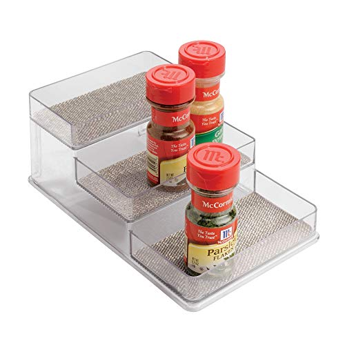 InterDesign Twillo Spice Rack, Organizer for Kitchen Pantry, Cabinet, Countertops - 3-Tier, Metallico/Clear