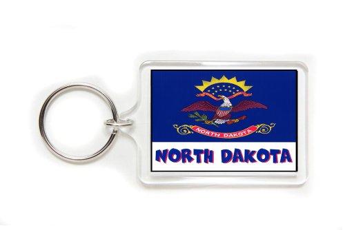 Souvenir North Dakota Flag Double Sided Acrylic Key Ring Medium Keyring Keychain Stocking -