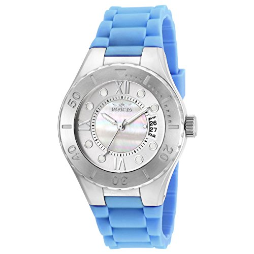 Invicta Women's Angel Blue Silicone Band Steel Case Quartz MOP Dial Analog Watch 19392