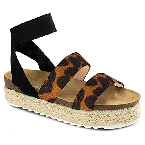 Joywow Women Sandals Casual Espadrilles Sandals Open Toe Platform Strappy Studded Wedge Buckle Ankle Strap Mid Heel Sandals (9 M US, F Leopard Printed)