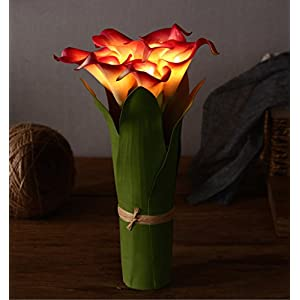Homeseasons LED Lighted Artificial Flower Calla Lily Arrangement-Battery Operated 7 Heads Calla Lily Light with Green Leaves 2