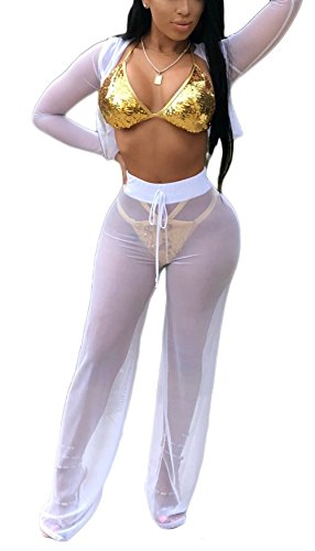 Bluewolfsea Women's Sexy 2 Piece Mesh Swimsuit Bikini Cover up Hoodie Crop Tops and Pants Set Sexy Beach Party Outfits Small White