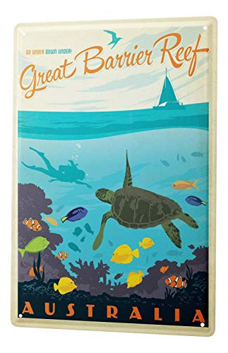 Tin Sign 8X12 inches Tin Sign World Tour Great Barrier Reef Australia Turtle Fish Coral Metal Plate