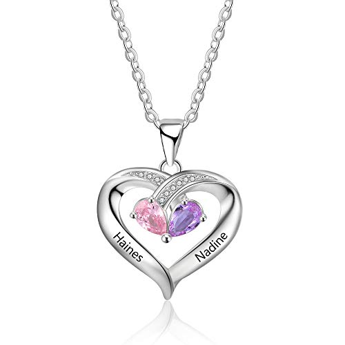 Personalized 2 Names with 2 Heart Simulated Birthstones Necklaces Couple Pendant Necklaces for Women Promise Necklace for Her Anniversary Gifts for Women Christmas Necklaces