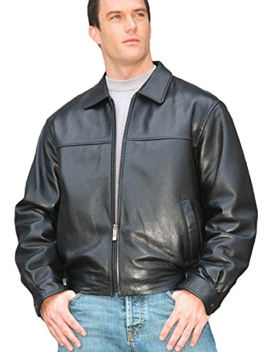 Reed Men's New Zealand Lambskin Leather Jacket (XL, Black) - New Zealand Lamb Jacket