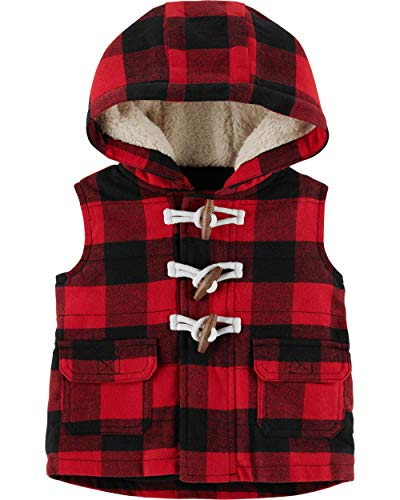 Fleece Baby Fleece Vest - Carter's Unisex Baby Hooded Buffalo-Check Toggle Vest - Red/Black (9 Months)