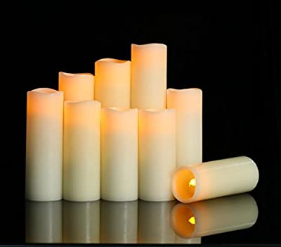 """HANZIM Flameless Candles Battery Operated Candles 4"""" 5"""" 6"""" 7"""" 8"""" 9"""" Set of 9 Ivory Real Wax Pillar LED Candles with 10-Key Remote and Cycling 24 Hours Timer (9)"""