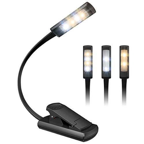 Lamp Clamp Mini (AMIR Rechargeable LED Book Light, 3 Lighting Modes Switchable Extra Bright 4 LED Reading Light USB Cable & Soft Padded Clamp, Adjustable Portable Task Lamp Readers, Bookworms, Kids, etc.)