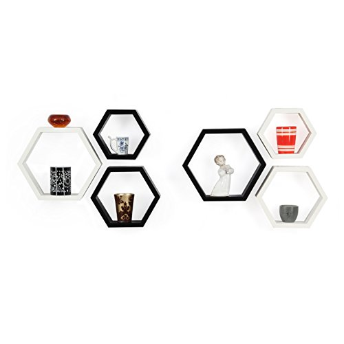Forzza Sasha Wall Shelf, Set of 6 (Lacquer Finish, White and Black)