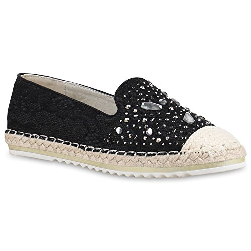 Stiefelparadies Damen Sneaker Slip Ons mit Plateau Glitzer Flandell  39 EURosa Metallic