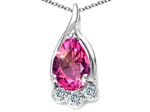 (Tommaso Design Pear Shape 7x5mm Simulated Pink Tourmaline Pendant Necklace 14 kt Yellow Gold)