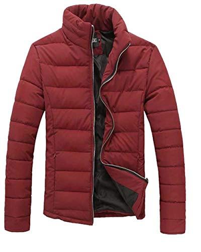 Zipper Quilted Collar Jacket Jacket Jacket Short Sleeve Unique Warm Thicken Stand Coat Men's Winter Burgunderrot Coat Down Long qB5xE56P