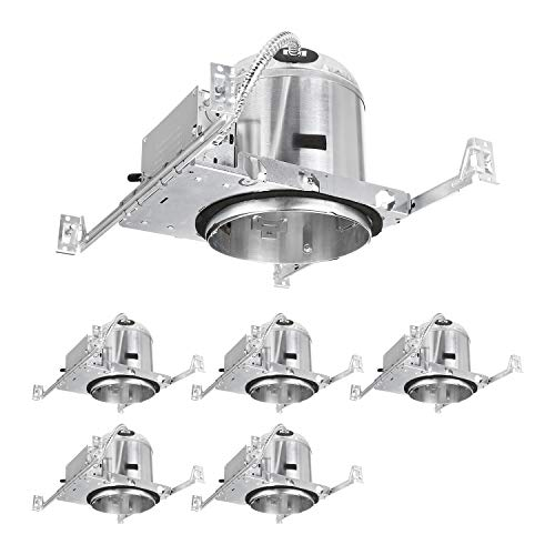 TORCHSTAR 6 Inch Recessed Housing For New Construction, IC Rated, Air Tight Ceiling Downlight Can with Junction Box, E26 Screw Base, UL Listed, Aluminum, 2 YEARS WARRANTY, Pack of 6