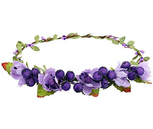 June Bloomy Floral Crown Wreath BOHO Berry Headband Hair Bands for Wedding Festival (Purple)