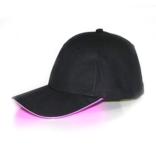 Glow In The Dark Costumes Stickman (LED Lighted Baseball Cap, Tuliptown Multicolor LED Flashing Light Up Hat, for Sports, Bar, Party, General (Pink LED Black Hat))