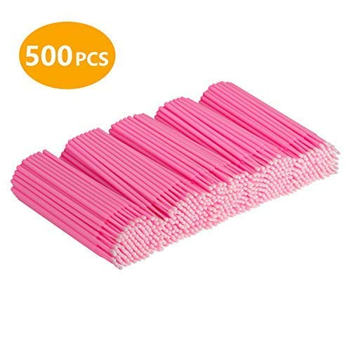 Cuttte 500 PCS Disposable Micro Applicators Brushes Latisse applicator for Eyelashes Extensions and Makeup Application (Head Diameter: 2.0mm)