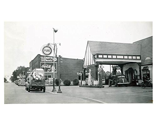 1941 Pure Oil Gas Station Photo Poster Forest City NC Gas Globe Cola
