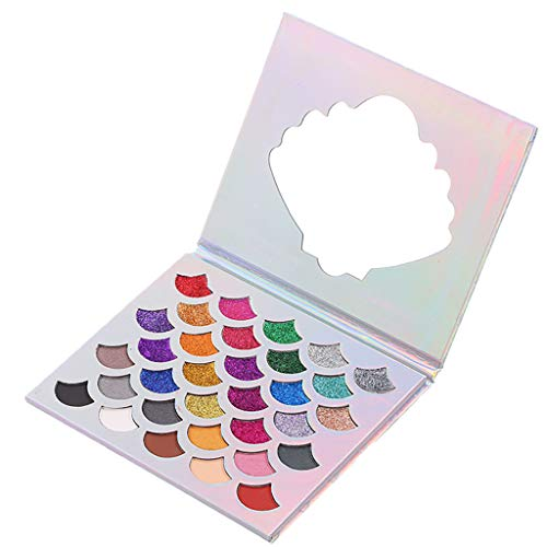 So BEATUIFUL ! NOGOQU 32 color Mermaid Scale Sequins Matte Shimmer Glitter Pressed Pearl Multi-Reflective Shades waterproof ()