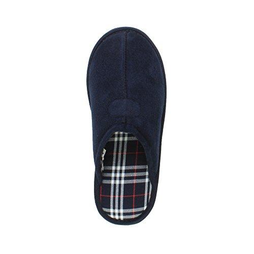 Ajvani - Zapatillas de estar por casa para mujer Mens Navy Check